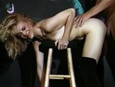 Hot retro slut gets banged on chair
