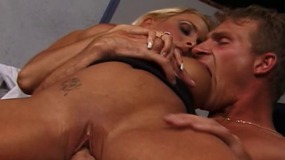 stud fucks a big breasted blonde.