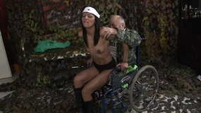 Slutty black nurse gives extra attention to an old man in a wheelchair