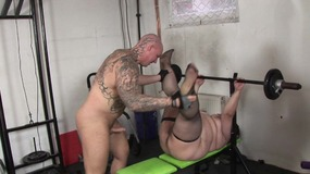 Brunette bbw bends over for stud big...