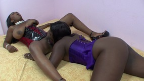 cute black lesbian chicks in bed dildoing each.