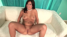 Curvy brunette rides thick black cock and gets pussy filled of cream