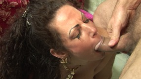 Busty MILF gives head to a dude and enjoys get jizzed on the mouth