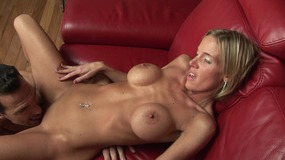 Blonde MILF with huge tits shows stud she can fuck and suck like a pro
