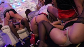 Beautiful brunettes blondes with stockings are ready to fucking rock well