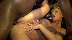 Black stud with a huge dong gets to fuck horny blonde and brunette babes at a sex orgy