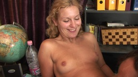This blonde chick at last fills pussy real cock...