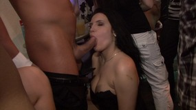 A group of black and white hunks are banging some horny sluts at a club