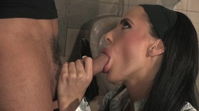 Kinky brunette walks into the men's toilets and fucks a young stud
