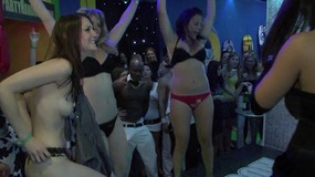 A bunch of naughty babes get wild at a party and start taking their clothes off