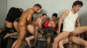 male and female bisexual prisoners have hardcore orgy.
