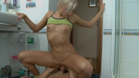 Young blonde with an amazing ass gets fucked in the bathroom