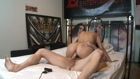 Hot and sexy brunette slut harcored on the bed
