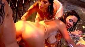 Oiled up latina pornstars take turns getting fucked