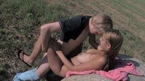 Babe with a hot body sucks and fucks on a haystack