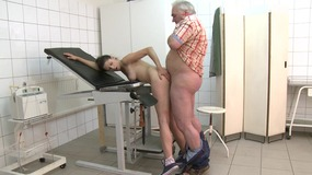 Old man gets his dick sucked by a hot brunette