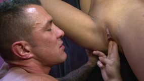 Handsome dude sits on this slut's face and fills her mouth with cock