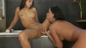 Sexy Lesbian Sluts Are Playing In The Bath Tub