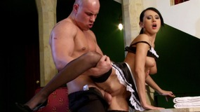 Hot french maid takes large dick