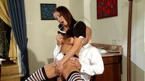 Horny maid fucks her boss
