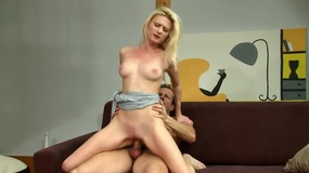 Blonde Chick With Pale Body Fucks Hardly On The Sofa...