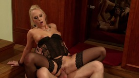 blonde, lingerie, pussy, eating, pussy, licking, stockings, blowjob, cock, sucking, riding, reverse, cowgirl, small, boobs, perky, tits, cowgirl, cumshot, facial