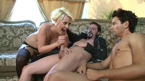 blonde, babe, threesome, lingerie, stockings, blowjob, cock, sucking, reverse, cowgirl, pussy, licking, chasity, belt