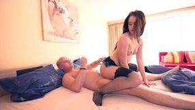 Lingerie clad brunette enjoys an orgasmic action