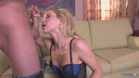 Smutty blonde sustains hardcore pounding on the couch in a close up shoot