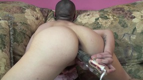 Bald chick and her vibrator...