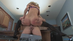 luxurious blonde in black stockings takes on hard shlong