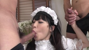 asian housemaid gets double fucked hard.