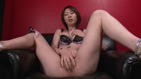 Mateless shameful asian slut satisfes herself with white dildo