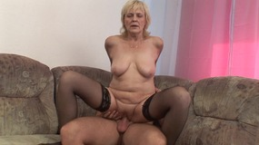blonde mature whore gets young cock in old.