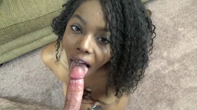 Ebony cutie Layla swallows a cock