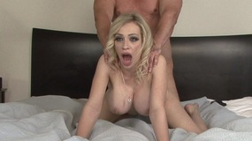 Superb blonde slut tits shows her treasures and gets cock inside...